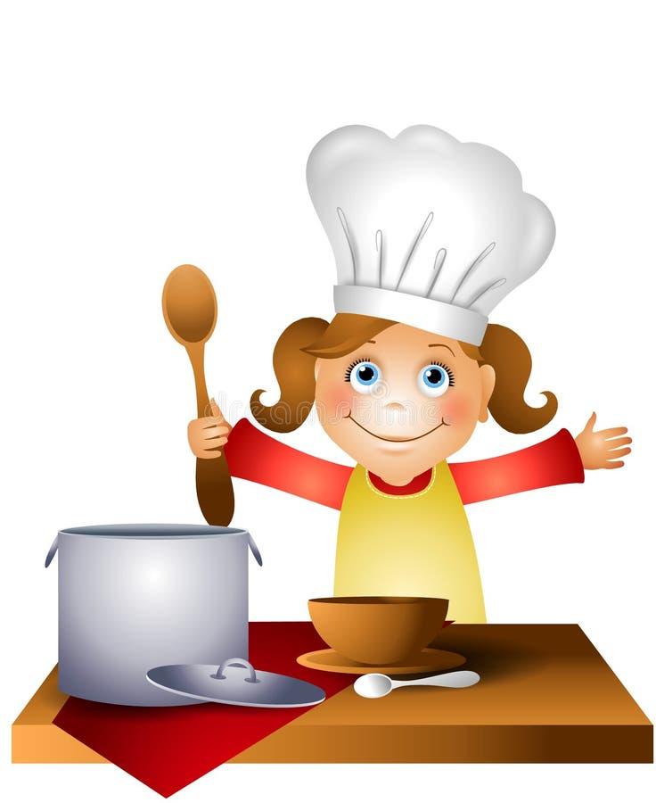 Niño de la muchacha en el sombrero 2 del cocinero libre illustration