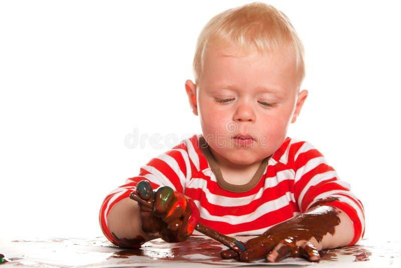 Niño de la pintura fotos de archivo libres de regalías