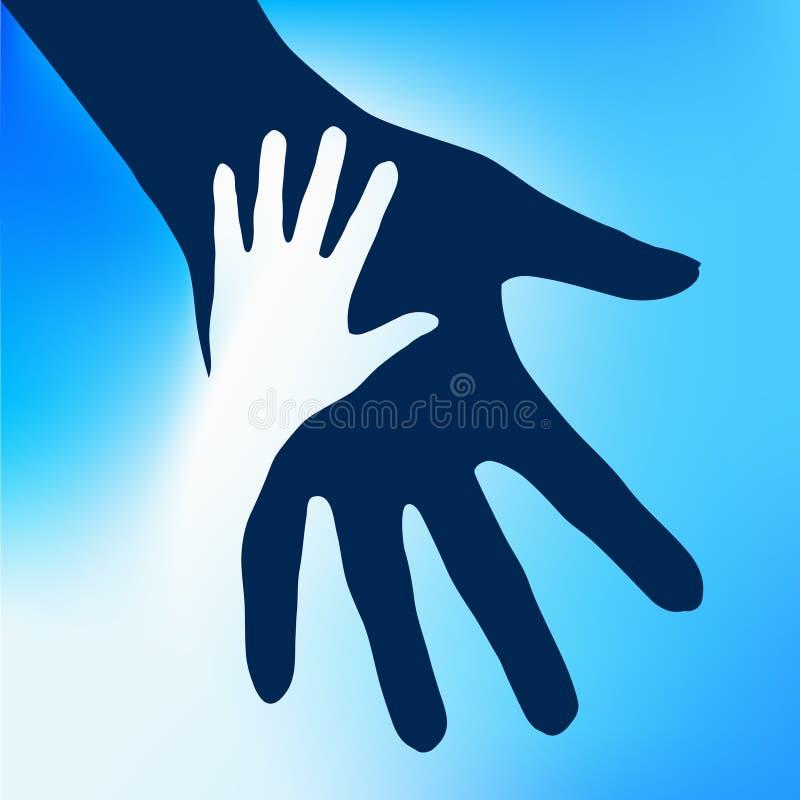 Niño de las manos amigas stock de ilustración