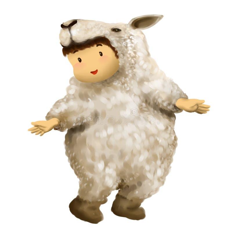 Niño de las ovejas, muchacho en el traje de las ovejas que baila feliz stock de ilustración