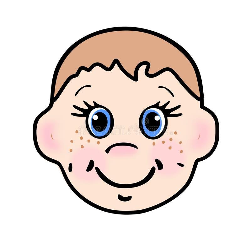 Niño de orejas grandes sonriente con el pelo marrón stock de ilustración