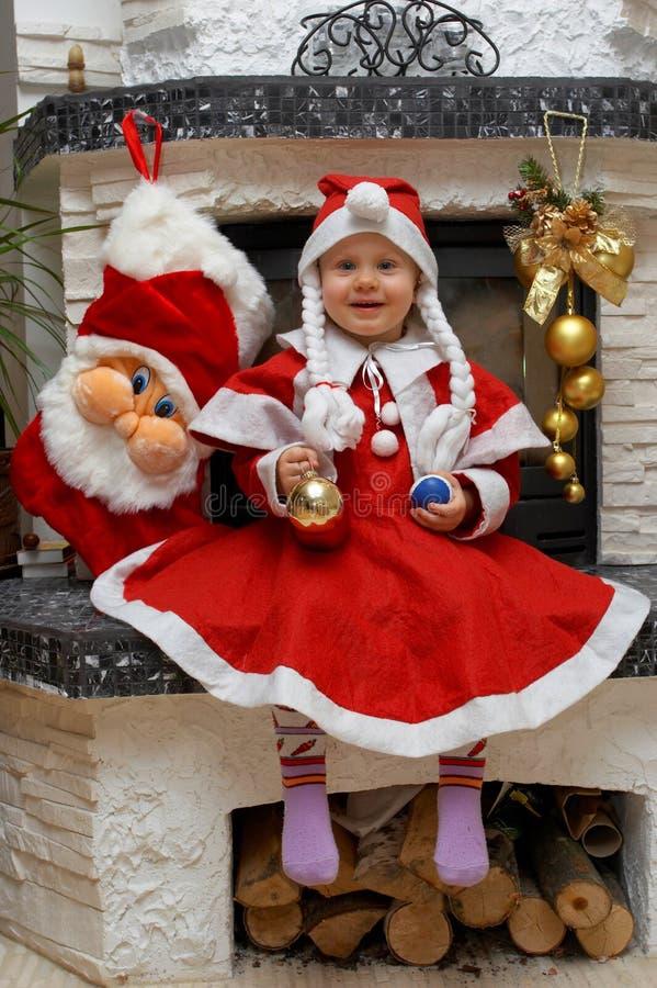Niño de Santa de la feliz Navidad fotografía de archivo