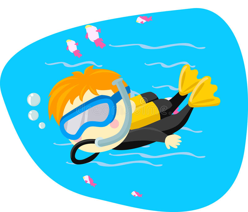 Niño del buceo con escafandra libre illustration