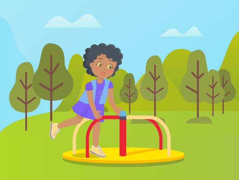 Niño del carrusel del parque de atracciones que juega en la naturaleza ilustración del vector