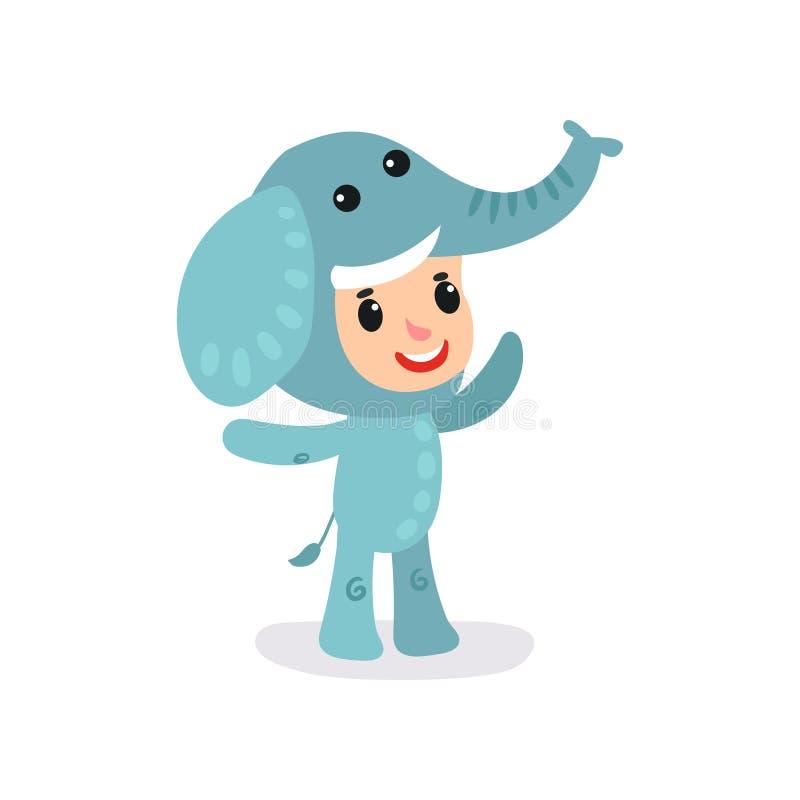 Niño del niño en mono azul del elefante El carácter del niño pequeño o de la muchacha que se divierte en los niños va de fiesta A ilustración del vector