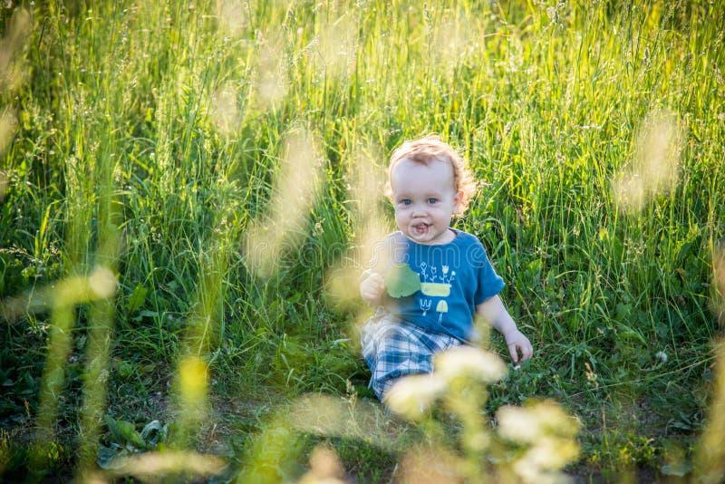 Niño del niño en un prado salvaje imagenes de archivo