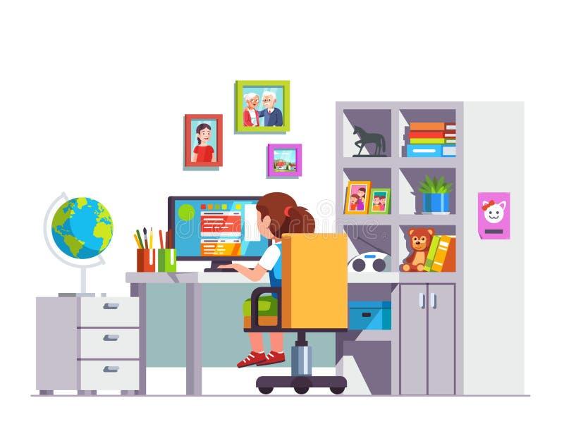 Niño del estudiante que se sienta en el escritorio, haciendo la preparación de la escuela libre illustration