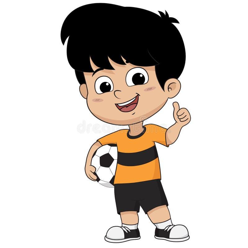 Niño del fútbol de la historieta como actitud libre illustration
