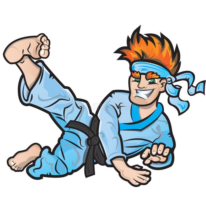 Niño del karate stock de ilustración