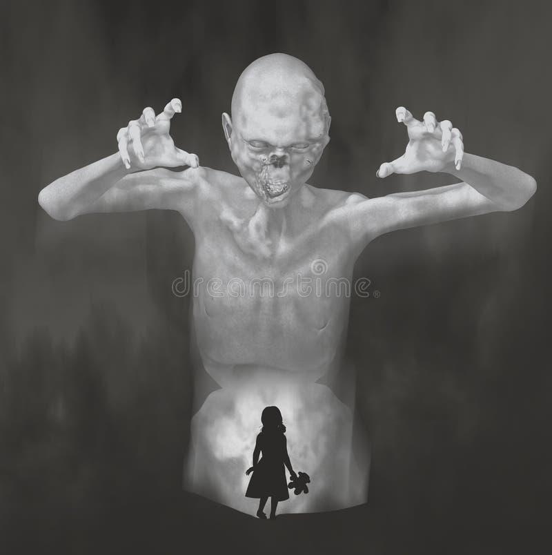 Niño del monstruo de la pesadilla ilustración del vector