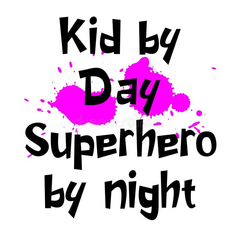 Niño del super héroe del día por el lema de la noche para los niños libre illustration