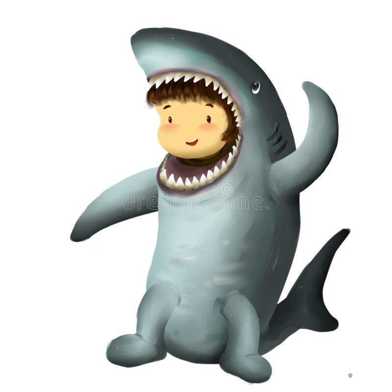 Niño del tiburón, vestidos de la muchacha en el traje del tiburón que agita una mano en el aire ilustración del vector