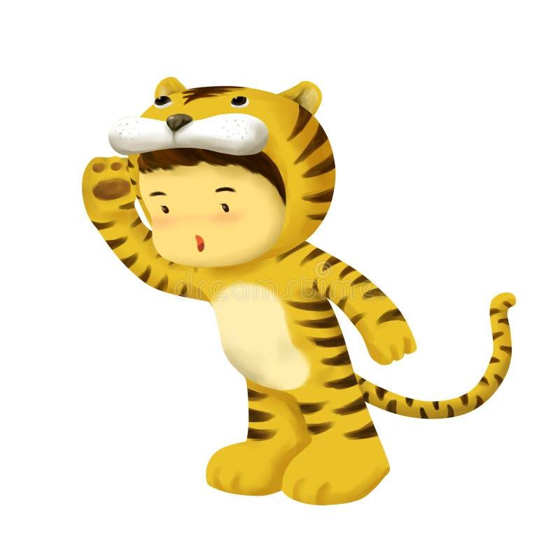 Niño del tigre, vestidos del muchacho en traje del tigre stock de ilustración