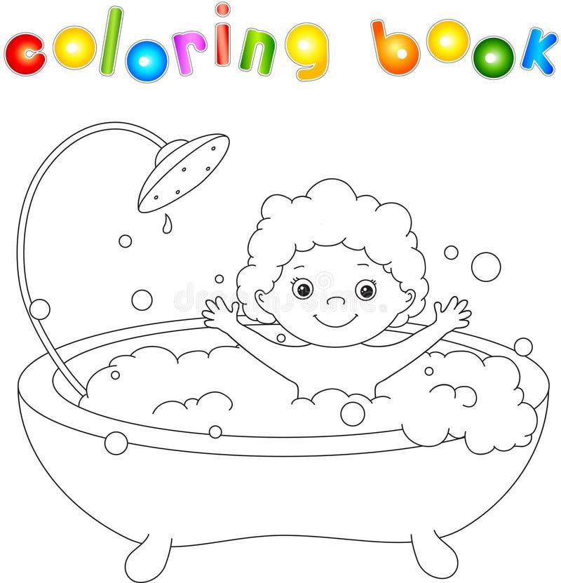 Niño del ute del ¡de Ð que se baña en el baño con espuma y la risa Colori libre illustration