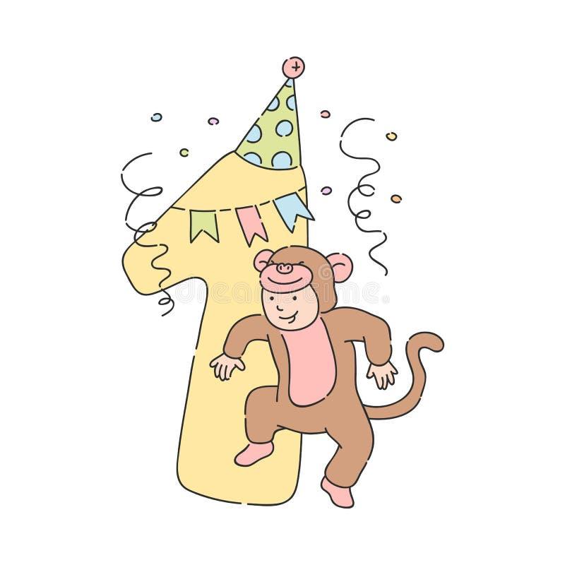 Niño del vector en el traje número 1 uno del mono libre illustration