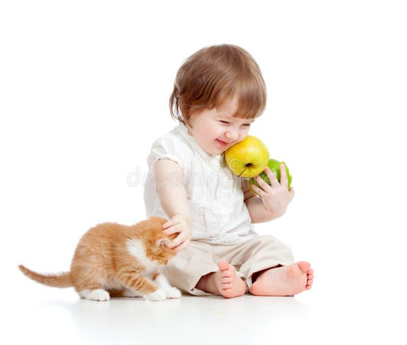 Niño divertido con las manzanas que juegan con el gatito fotografía de archivo