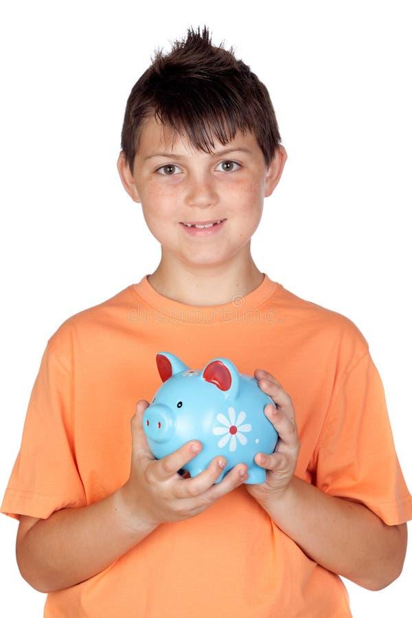 Niño divertido con un dinero-rectángulo fotos de archivo