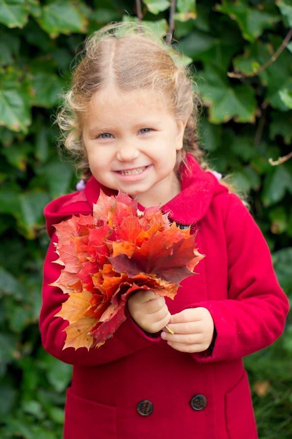 Niño divertido sonriente y que disfruta del otoño imagen de archivo libre de regalías