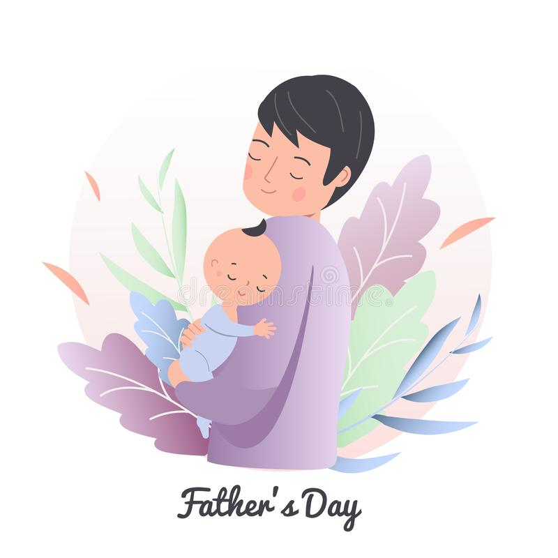 Niño durmiente del control del padre pequeño Pap? con el beb? Niño de la enfermera del hombre Ejemplo del concepto del día de pad ilustración del vector