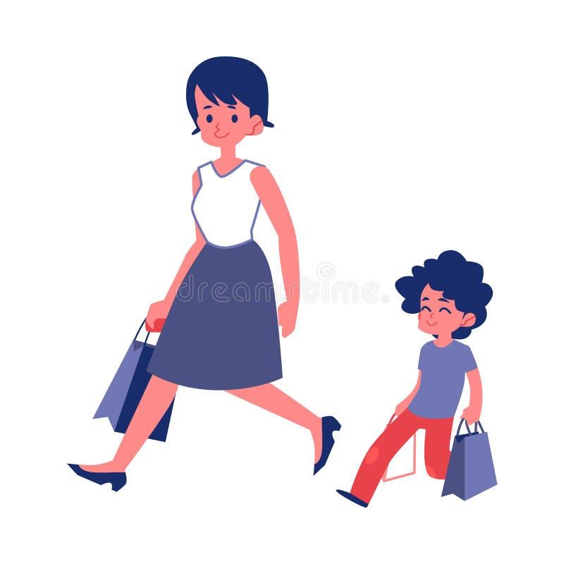 Niño educado con las buenas maneras que ayudan a su vector plano de la madre aislado en blanco stock de ilustración