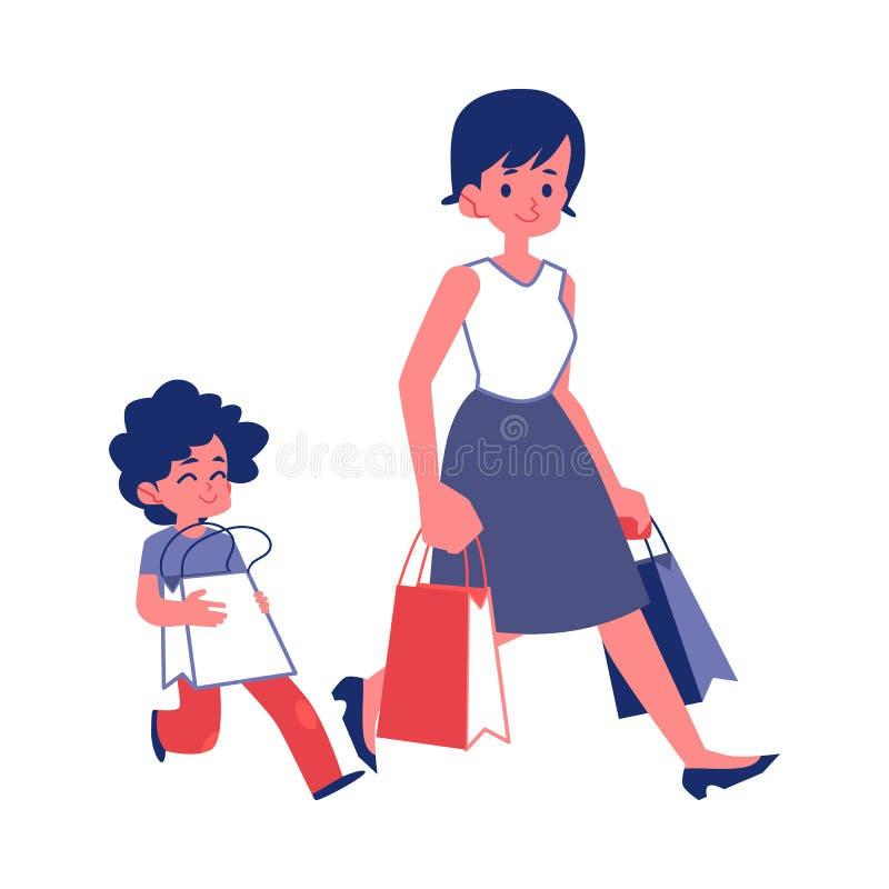 Niño educado con las buenas maneras que ayudan a un vector plano de la mujer aislado en blanco stock de ilustración