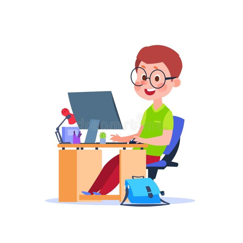 Niño en el ordenador Muchacho de la historieta que aprende en el escritorio con el ordenador portátil Estudiante que estudia conc ilustración del vector
