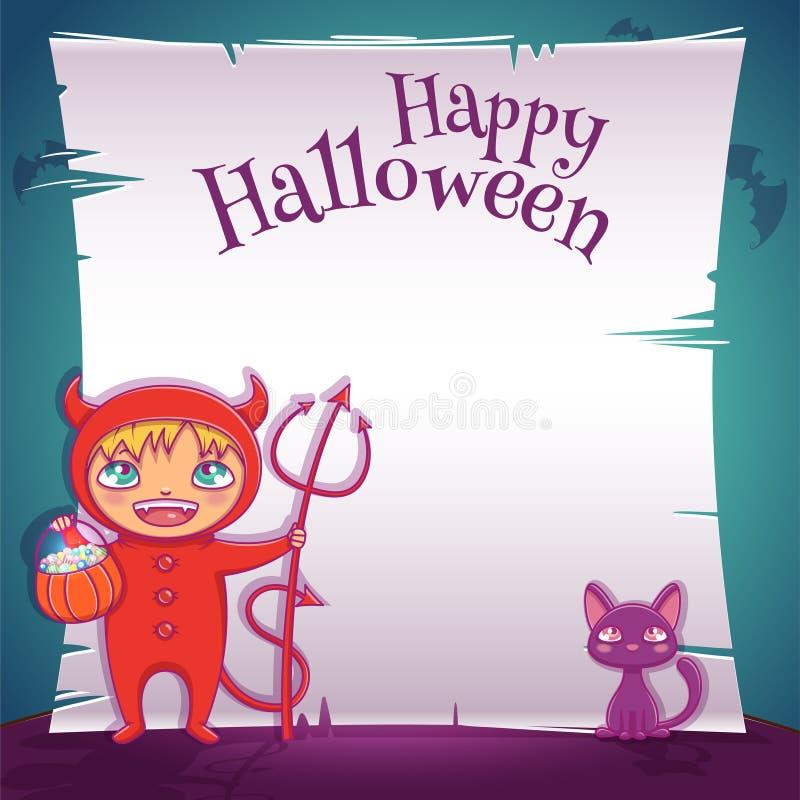 Niño en el traje del diablo con el gatito negro Partido del feliz Halloween Plantilla Editable con el espacio del texto stock de ilustración