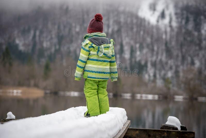 Niño en el traje del invierno que se coloca en el embarcadero nevoso en un lago fotografía de archivo libre de regalías