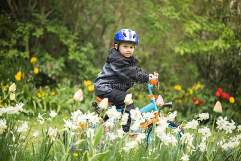 Niño en la bici fotos de archivo