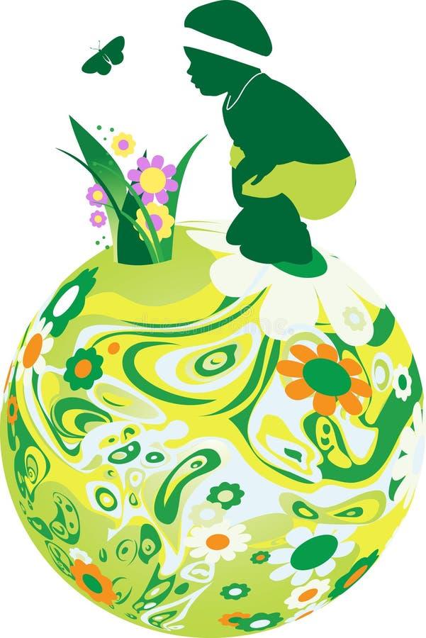 Niño en la esfera floral. ilustración del vector