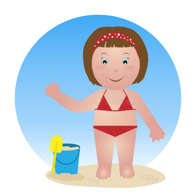Niño en la playa stock de ilustración