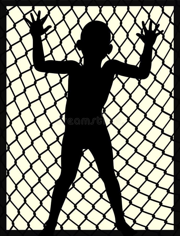 Niño en la prisión stock de ilustración