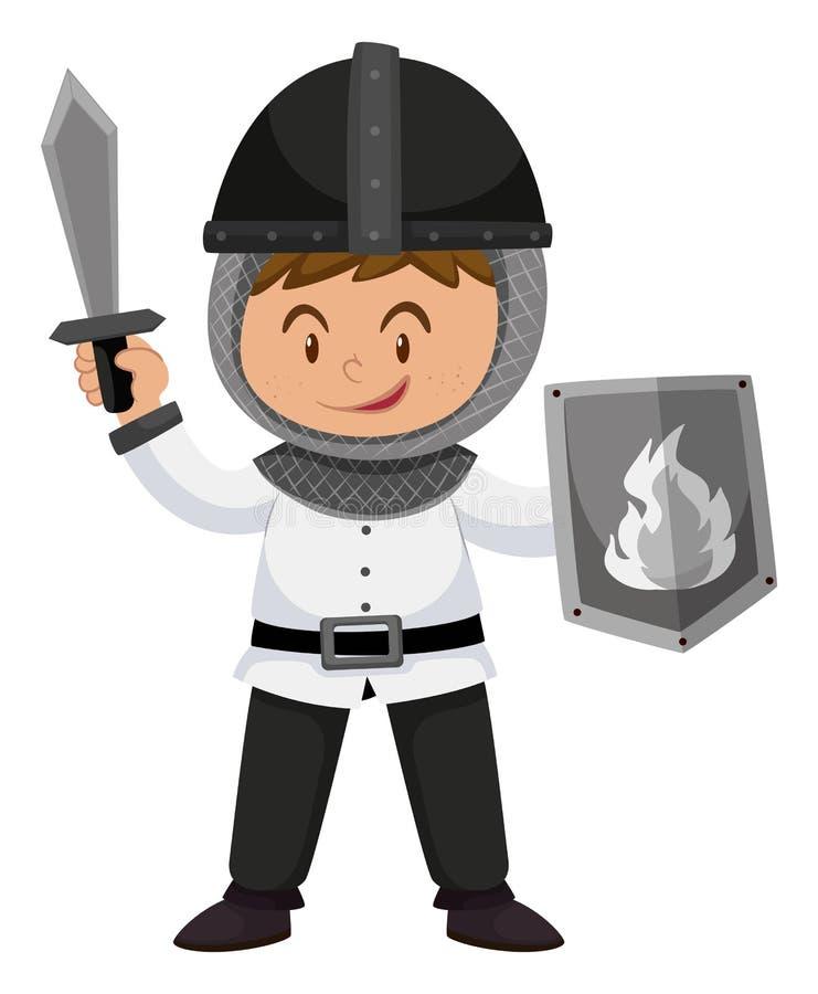 Niño en traje del caballero con las armas ilustración del vector