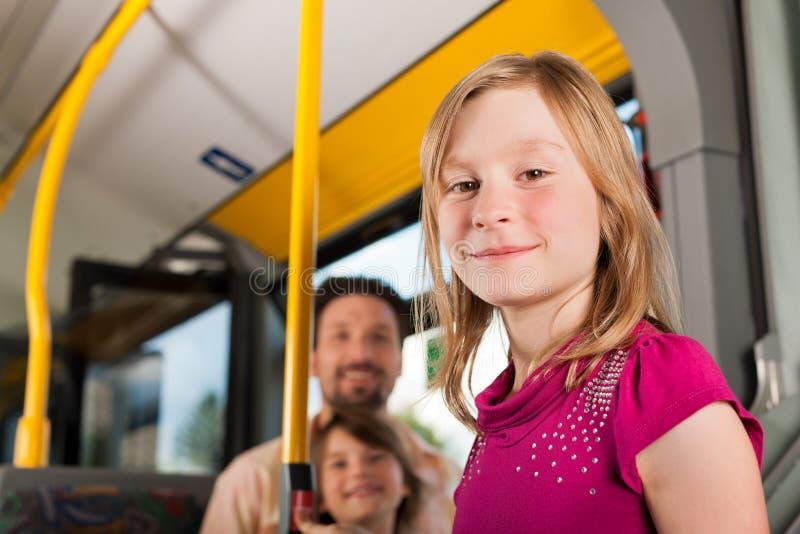 Niño en un omnibus imágenes de archivo libres de regalías