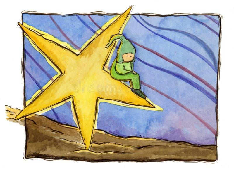 Niño en una estrella stock de ilustración