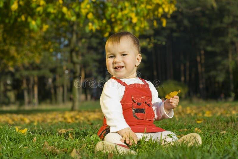 Niño en una hierba foto de archivo