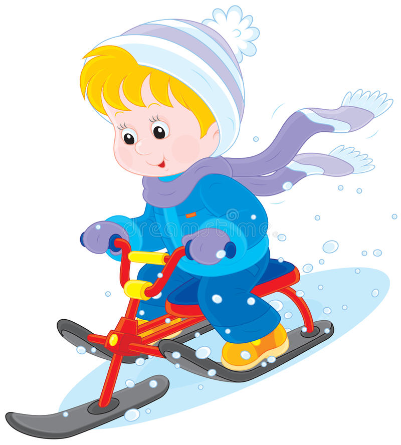 Niño en una vespa de la nieve ilustración del vector