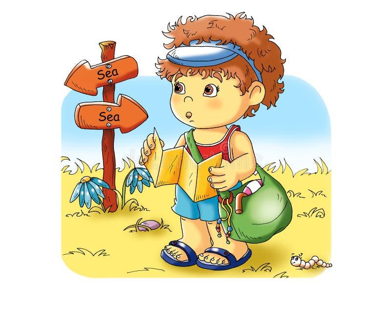Niño en vacaciones ilustración del vector