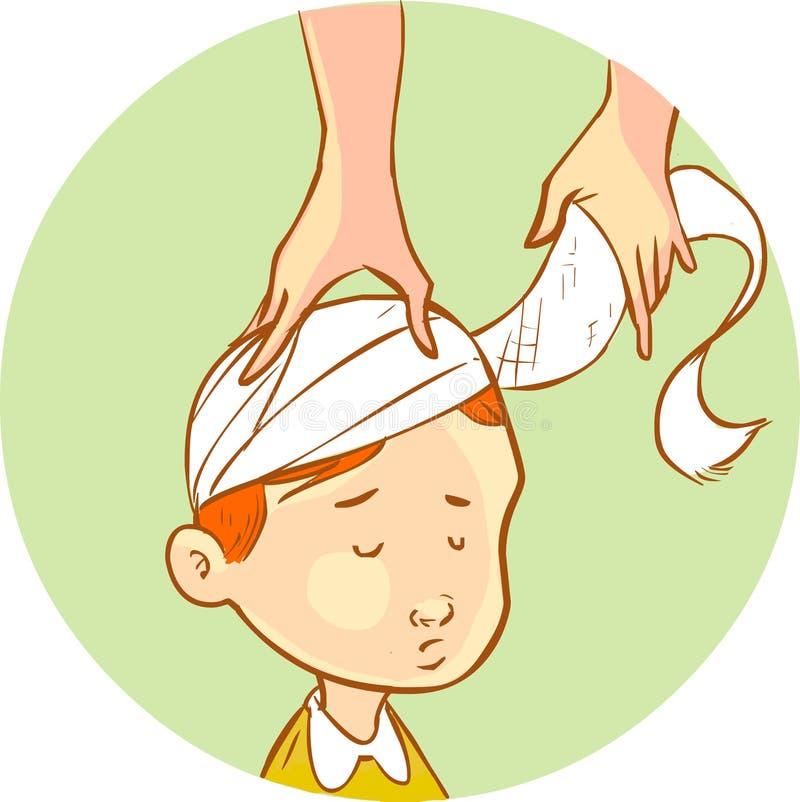 Niño envuelto cabeza del vendaje stock de ilustración