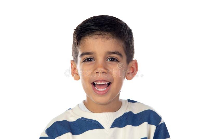 Niño feliz con camiseta a rayas fotos de archivo