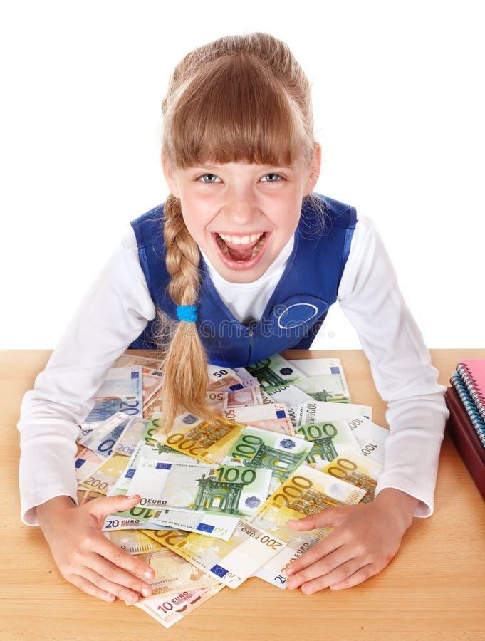 Niño feliz con euro del dinero. imágenes de archivo libres de regalías