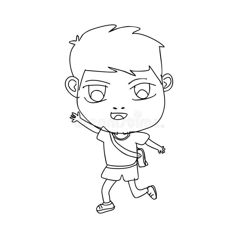 Niño feliz de la historieta exhausta linda de la mano usando el bolso, yendo a ir a enseñar aislado en el fondo blanco libre illustration
