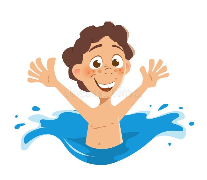 Niño feliz del muchacho de la sonrisa que salpica en agua ilustración del vector