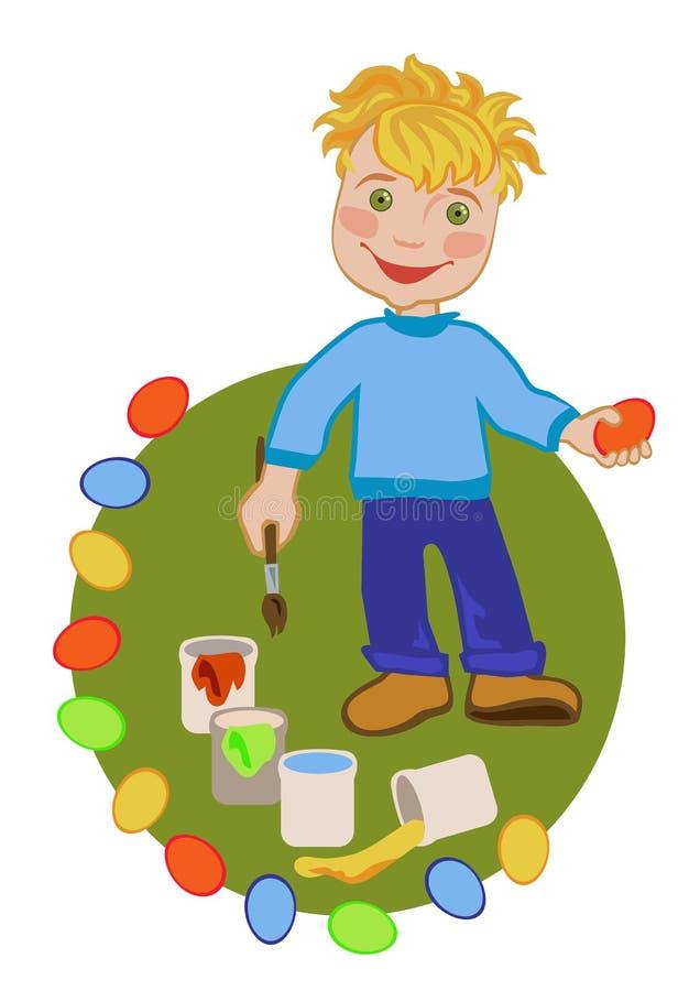 Niño feliz que celebra Pascua ilustración del vector