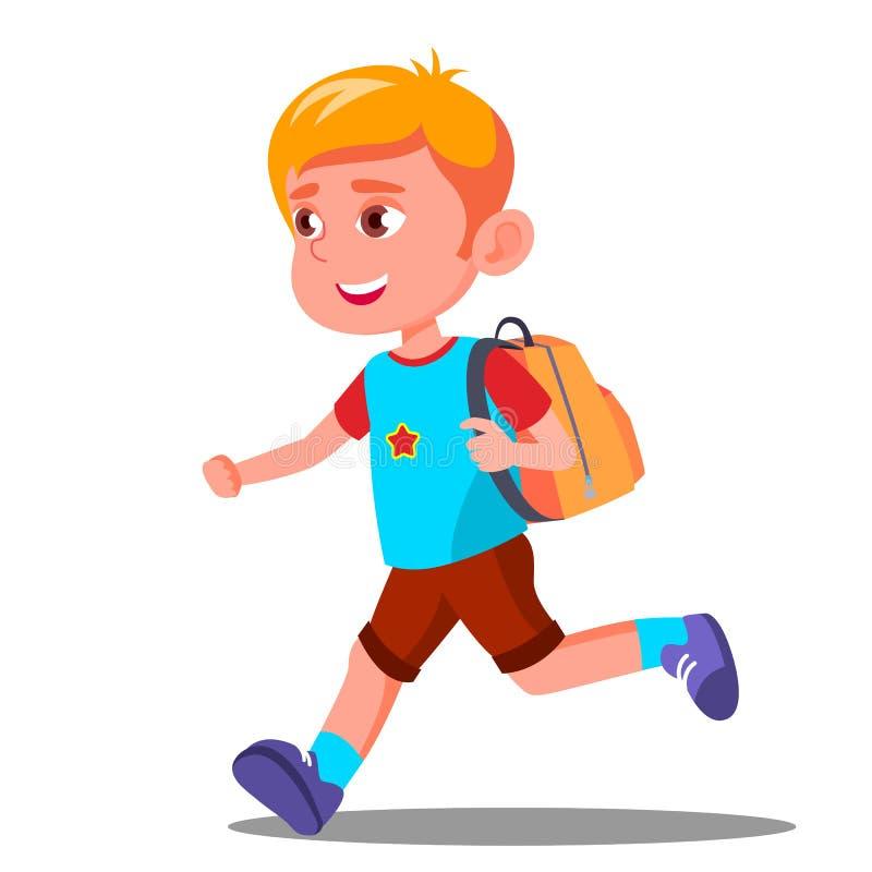 Niño feliz que corre con un vector del bolso de escuela Educación septiembre Ilustración aislada ilustración del vector
