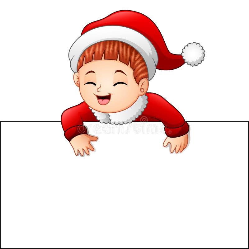 Niño feliz que lleva el traje de santa que lleva a cabo la muestra en blanco ilustración del vector