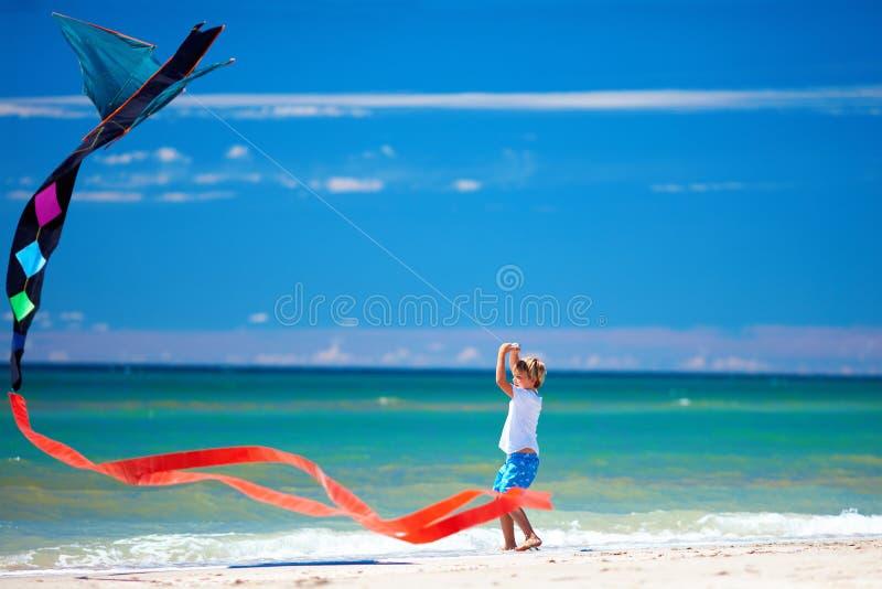 Niño feliz que vuela una cometa del beautiul en la playa del verano imágenes de archivo libres de regalías