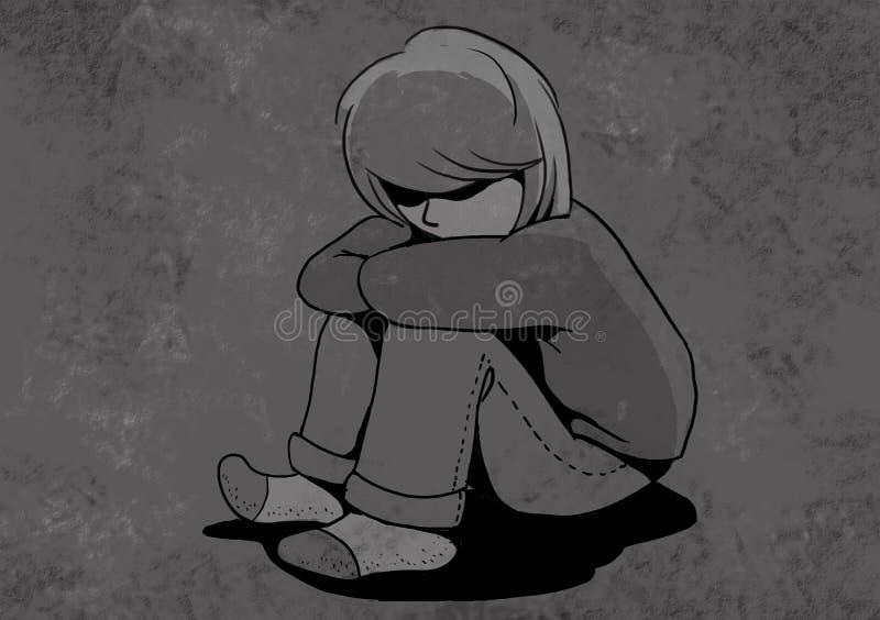 niño infeliz, ilustración abusada de los niños libre illustration