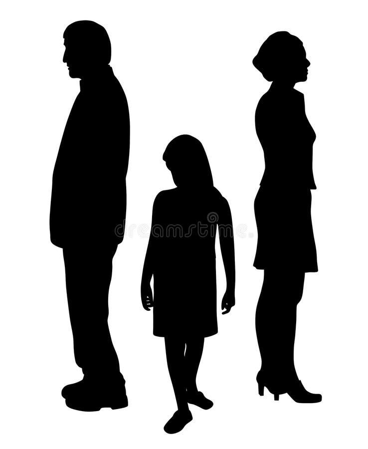 Niño infeliz triste que se coloca entre dos padres de divorcio ilustración del vector