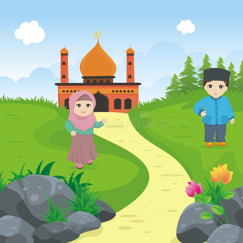 Niño islámico de la historieta con la mezquita y el paisaje stock de ilustración